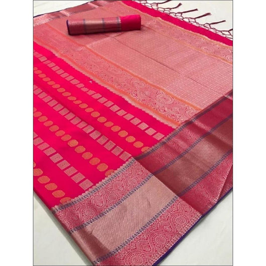 Pink Traditional Soft Silk Saree With Beautiful Silver Border