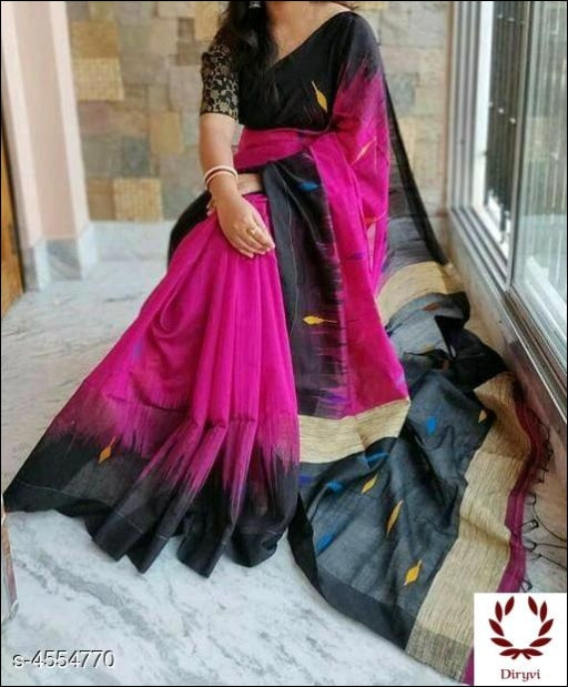 Pink Trendy Classy Cotton Silk Saree Silk Saree