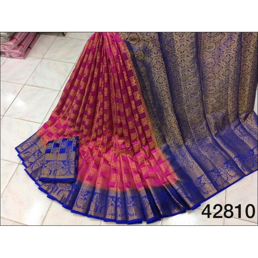 Pink With Blue Border and Checked Peacock Jari Pure Organza Silk Saree