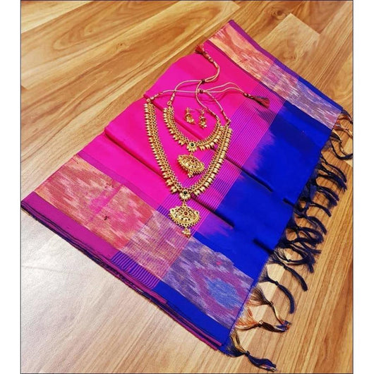 Pink With Blue Pochampally Tradition Pure Silk Cotton Silk Saree Silk Saree