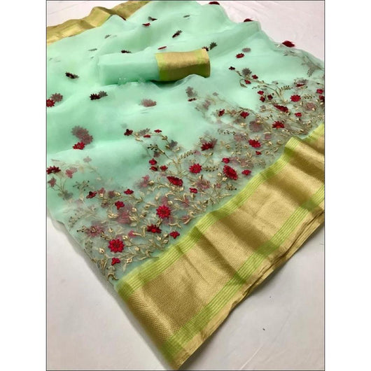 Pista Green Pure Organza Silk Elegant Party Saree With Rich Embroidery