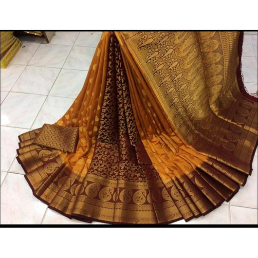 Pure moonga soft silk saree wih rich pallu