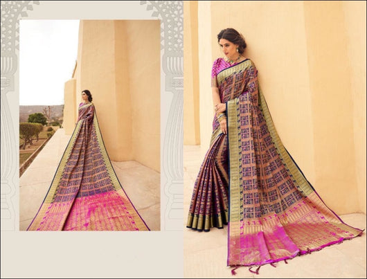 Purple Banarasi Silk Weaving Silk Saree With All Over Sari Silk Saree