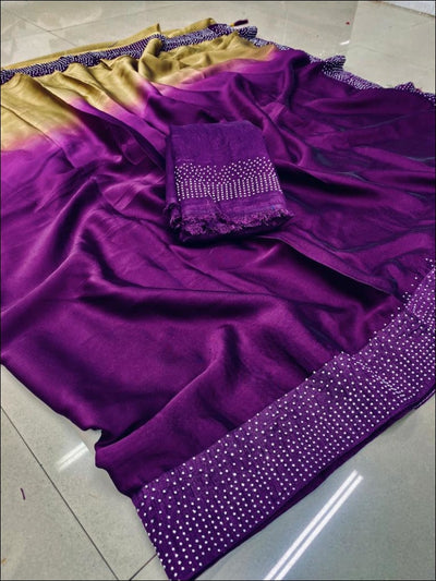 Purple Double Shade Rangoli Silk Elegant Party Saree Party saree