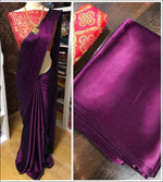 Purple Elegant And Trendy Satin Party Saree With Banarasi Blouse Party saree