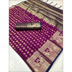 Purple Soft Silk Weaving Party Saree With Contrast Blouse