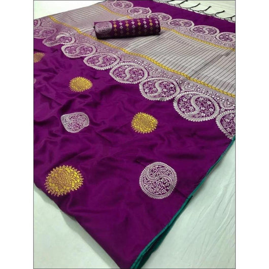Purple Soft Weaving Silk Saree With Gorgeous Zari Embroider