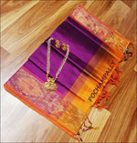 Purple With Orange Pure Silk cotton Silk Saree With Pochampalli Border Silk Saree