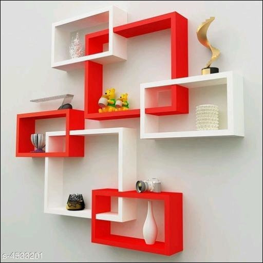 Red And White Attractive MDF Wall Shelves To Make Our Houses Look Trendy Home Decors