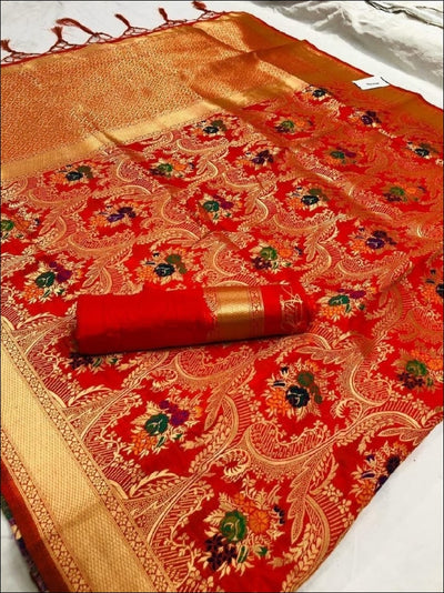 Red Antique And Gorgeous Soft Silk Saree Silk Saree