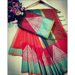 Red Doriya Summer Wear Party Saree