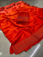 Red Double Shade Rangoli Silk Elegant Party Saree Party saree