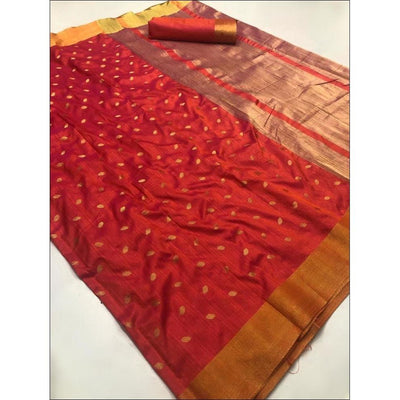 Red Elegant and Traditional Soft Silk Saree With Butti Weaving