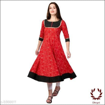 Red Elegant Cotton Women's Kurthi