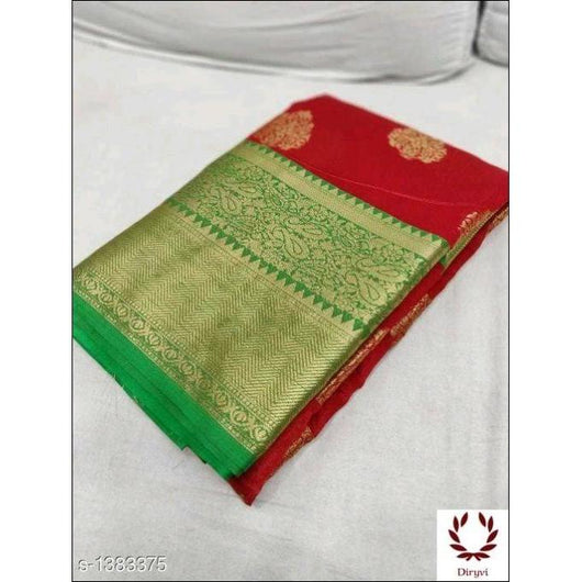 Red Grand Soft Banarasi Silk Saree With Woven And Sari Work