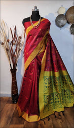 Red Handloom Silk Weaving Raw Silk Saree Silk Saree