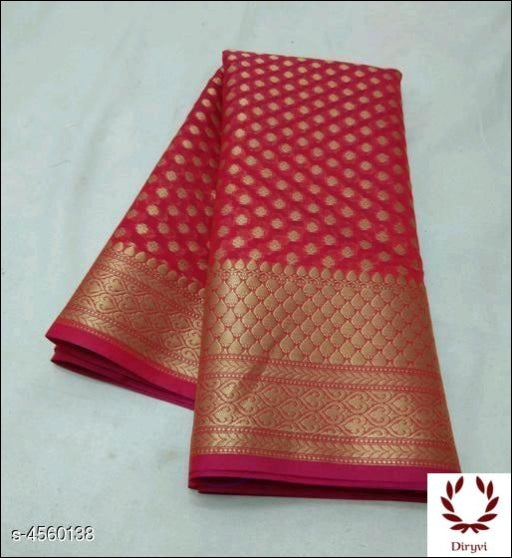 Red Sari Woven Georgette Silk Saree Party saree