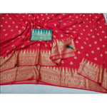 Red Soft And Smooth Weaving Embose Party Saree With Bottle Green Contrast Blouse