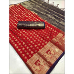 Red Soft Silk Weaving Party Saree With Contrast Blouse