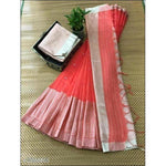 Red Stylish Elegant Jamdani Silk Saree