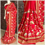 Red Stylish Embroidery Pure Silk Party Saree