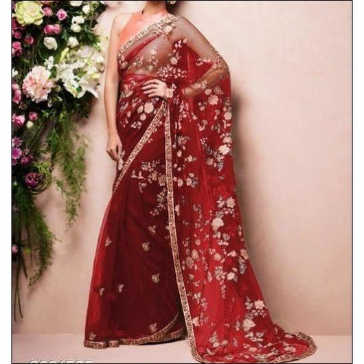 Red Stylish Embroidery Soft Net Party Saree
