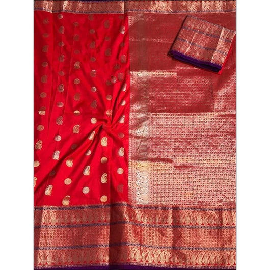 Red Traditional Banarasi Art Silk Saree With Grand Border