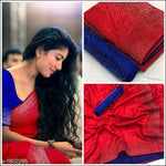 Red With Blue Contrast Blouse Elegant Party Saree