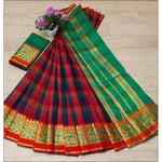 Red With Blue Cotton Lenin Check Design Party Saree