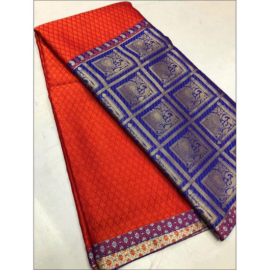 Red With Blue Grand Soft Banarasi Silk Saree