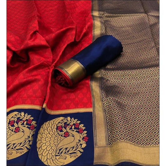 Red With Blue Peacock Border Kanchipuram Silk Saree