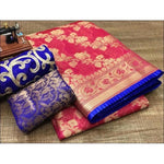 Red With Blue Piping Banarasi Kota silk cotton Party Saree With Designer Blouse Party saree