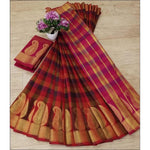 Red With Brown Cotton Lenin Check Design Party Saree