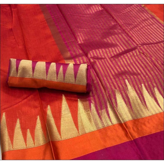 Red With Contrast Border Kundan Raw Silk Saree