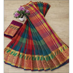 Red With Green Cotton Lenin Check Design Party Saree