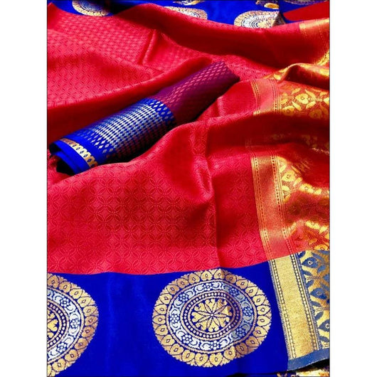 Red With Navy Blue Trendy Thancoi Silk Saree With Contrast Border