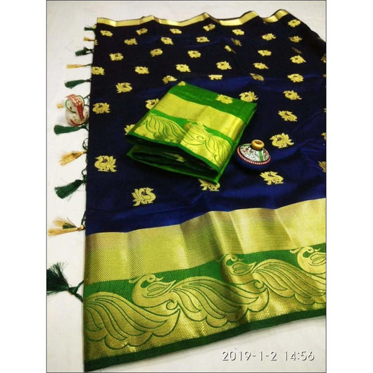 Rich Blue With Green Peacock Border Tussar Silk Saree