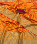 Rich Butta and Grand Tussel Floral design Yellow Saree Silk Saree