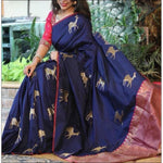 Royal Blue With Pink Elegant Art Silk Party saree