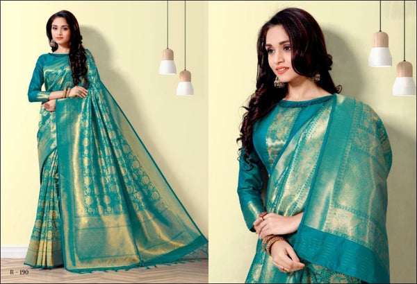 Sea Blue Kanjeevaram Traditional Elegant Silk Sarees Silk Saree
