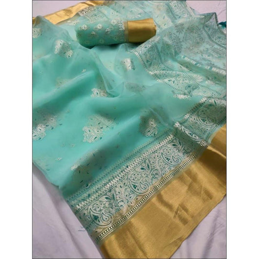Sea Blue Pure Organza Silk Elegant Party Saree