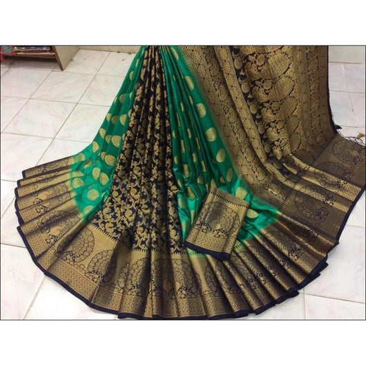 Sea Green With Navy Blue Pure Moonga Soft Silk Saree