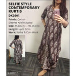 Selfie Trendy Brown Printed Cotton Kurtis Kurti