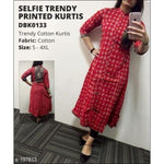 Selfie Trendy Closed Neckline Cotton Printed Kurtis