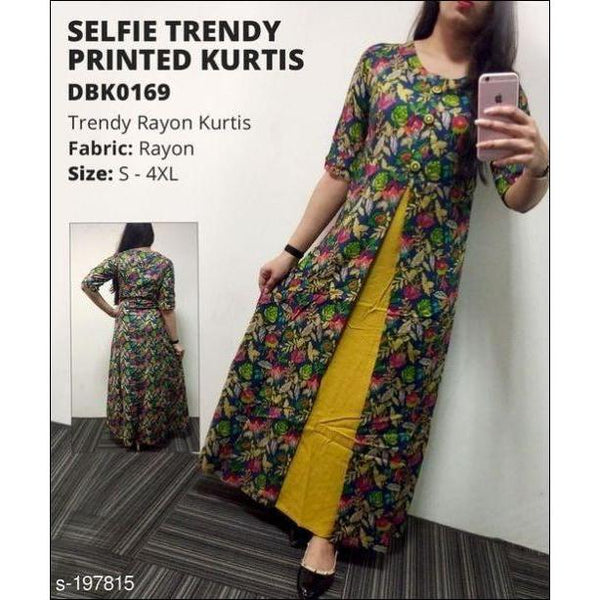 Selfie Trendy Multicolor Printed Kurtis