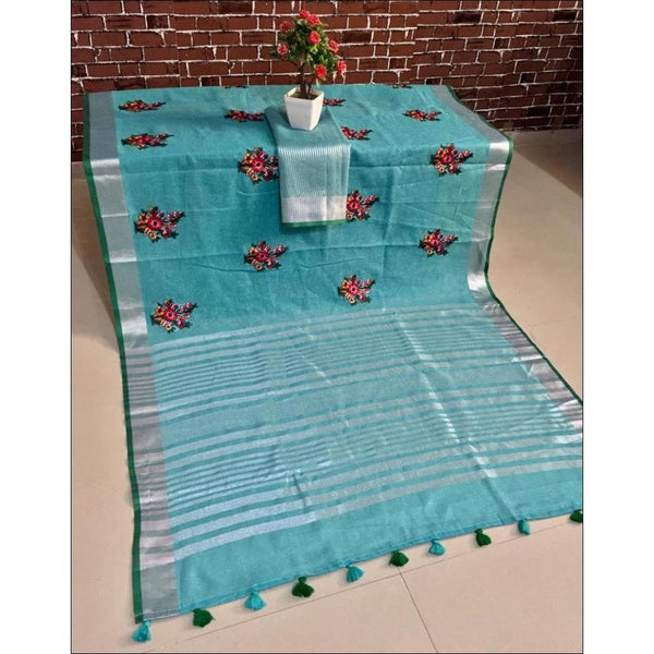 Sky Blue Trendy Linen Party Saree With Embroidery Worrk