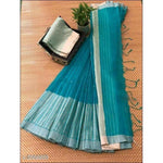 Steel Blue Stylish Elegant Jamdani Silk Saree