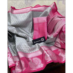 Steel Grey With Pink Handloom Banarasi Muslin Party Saree