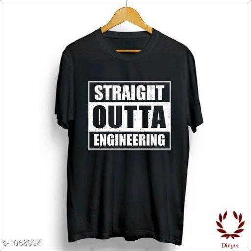 Straight Outta Engineering Men's-Cotton-Regular-Fit-T-Shirts