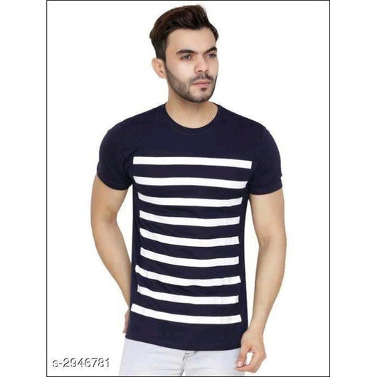 Striped-Men-Polo-Neck-Blue-T-Shirt